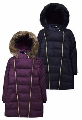 Tammy Girl BHS Girls Long Padded Coat Jacket Burgundy Black 7 - 14 Years