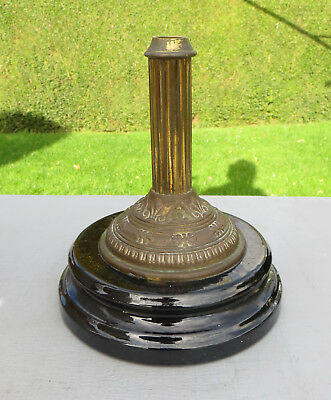 "Antique/Vintage Ceramic & Brass Short Column Oil Lamp Base 21cm 8 1/4"" High"