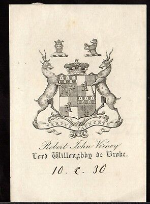 BOOK PLATE/Ex Libris ~  ROBERT JOHN VERNEY aka LORD WILLOUGHBY DE BROKE ~ Early