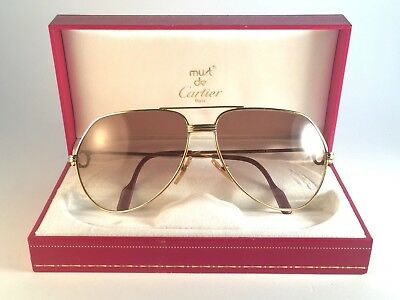 Mint Vintage Cartier Vendome 62Mm Sunglasses France 18K Gold Plated