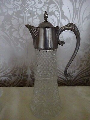 Vintage Retro Heavy England Silver Plated Ornate Collar  Lid Claret Jug Decanter