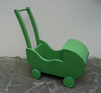 Vintage 1970s Green Painted Wooden Dolls Pram with bedding