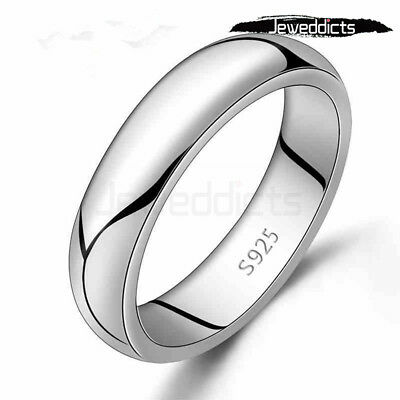 Ring Plain Band Classic Sterling Silver Plated Wedding Engagement Men Women