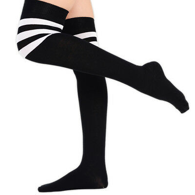 31dad22e6 Girls Striped Socks Ladies Referee Striped Over The Knee High Socks Fancy  Dress