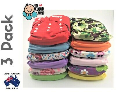 3X Bamboo Cloth Nappies Baby Reusable Charcoal Nappy Diaper & 5Layer Insert GIRL