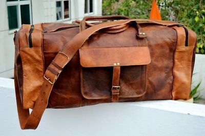 Large Men's Leather Vintage Duffle Luggage Weekend Gym Overnight Travel Bag NEW