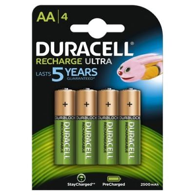 4 Duracell AA 2500 mAh PRE STAY CHARGE Rechargeable Batteries NiMH HR6