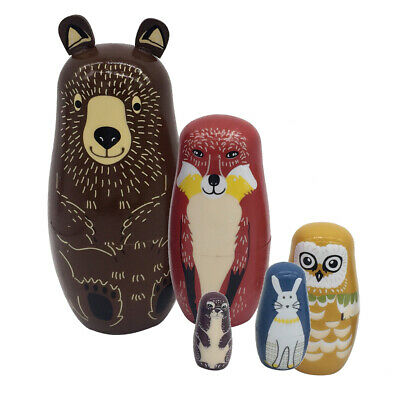 5Pcs Russian Bears Hand-Painted Babushka Matryoshka Nesting Dolls Home Decor