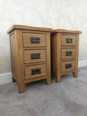 Matching Pair Rustic Oak Narrow Bedside Tables Cabinets Bedroom Drawers