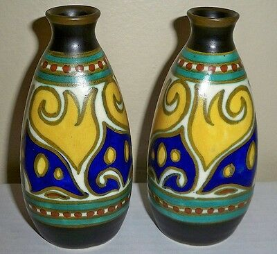 Lovely Mirror Painted Pair Vintage Gouda Holland Art Pottery Vase