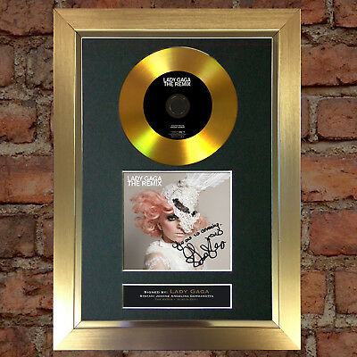 GOLD DISC LADY GAGA Signed CD Mounted Repro Autograph Photo Print A4 87