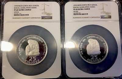 Costa Rica 25 Colones 1970 Silver Coin Commemorative NGC PF 69 KM# 194 #3923