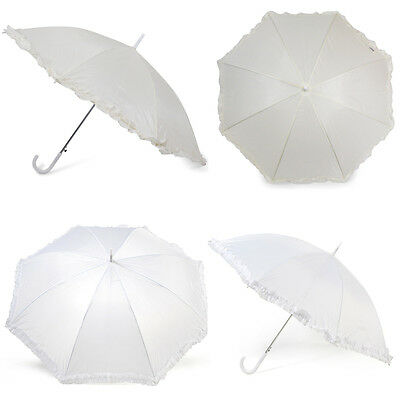 Budget Wedding Umbrella with Frill, Ivory and White