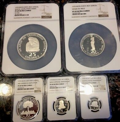 Costa Rica 25 1970 Silver Commemorative Set NGC PF 69 25, 20, 10, 5, 2 Colones!!