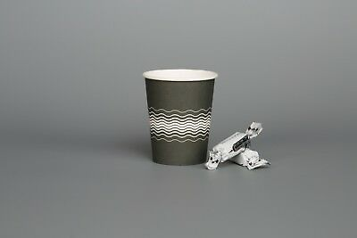 Tea Coffee Party PAPER CUPS GREY WEAVED 100 x 8oz 12oz Hot Cold Drinks Sip LIDS