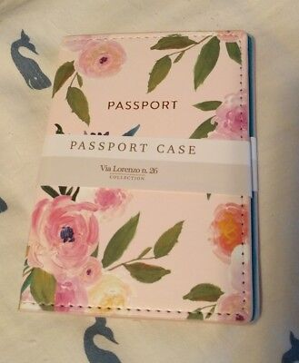 Eccolo Passport Case Via Lorenzo n.26 Collection - Pink Flowers