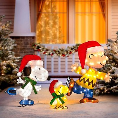 outdoor lighted peanuts charlie brown snoopy woodstock christmas decoration new