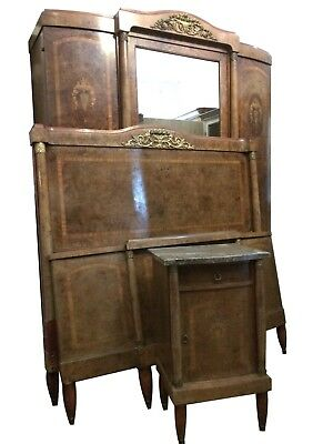 "Antique French Empire Bedroom Suite Armoire 4'6"" Double Bed Bedside Cabinet"