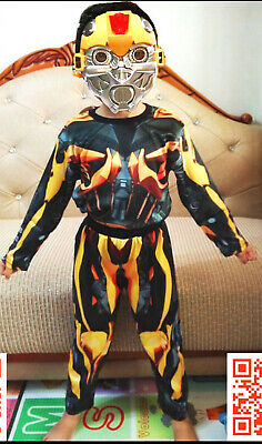 New Size 2-12 Kids Costume Transformers Bumblebee Boys Dress Up Party Toy Gift