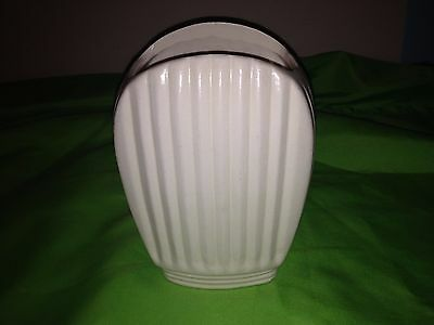 Vintage Ivory Pottery Vase Art Deco #231 J W initials  NEAT LINES Toaster Look