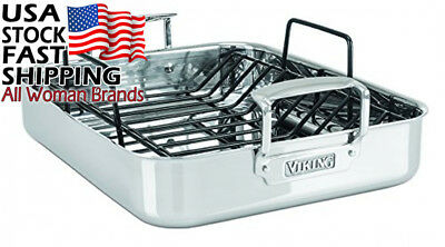 Viking 3-Ply Stainless Steel Roasting Pan with Non-Stick Rack, 16 Inch by 13