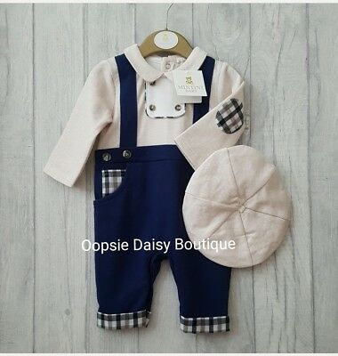 ☆ Baby Boys Traditonal Style Navy & Tweed Romper with Matching Cap-Mintini Baby☆