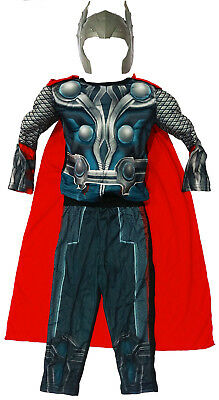 New Size 2-12 Kids Costume Muscle Avenger Marvel Thor Boys Dress Up Party Gift