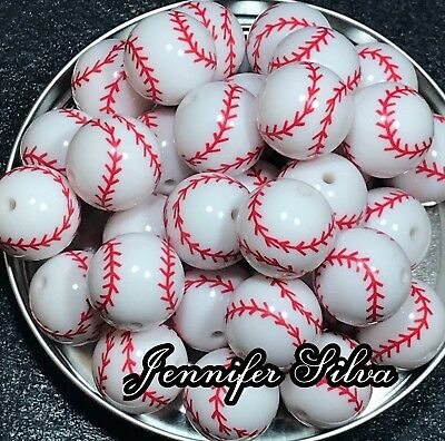 Baseball Printed Chunky Bubblegum Beads 20mm