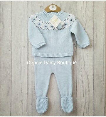 Baby Boys Stunning Blue Knitted Pom Pom Suit 2 Piece Mintini Baby ☆