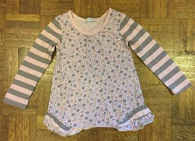 Girls Naartjie Kids Shirt Top Pink Gray Stripes Size 4 Good Condition