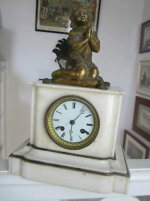 Pretty Pendulum Napoleon Iii With Theme Bronze Cherub Praying Complete In