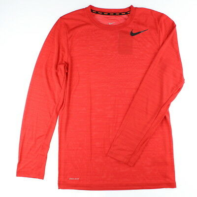 Nike 3012 Athletic Workout Gym Mens Dri-FIT Touch Long-Sleeve Shirt Sports Red