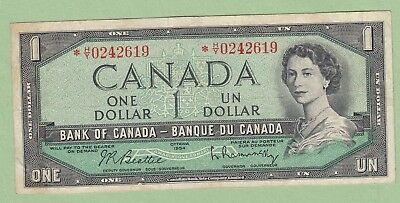 1954 Bank of Canada One Dollar Note - Replacement - *H/Y0242619 - Fine