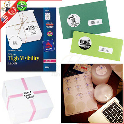 High Visibility Round Laser 300 Pack 2 1/2 Inch Diameter White Shipping Labels