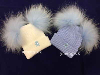 Wee Me Stunning Baby Boy Blue Double Real Fur Pom Hat/NB to 3 Years Teddy