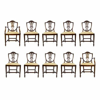 Set of Ten Hepplewhite Style Dining Chairs