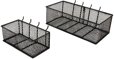 Wall Peg Board Baskets Garage Storage Organizer Pegboard Bins Steel Tool, 2-Pack