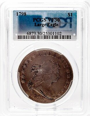 1798  Bust Silver Dollar rev (LARGE Eagle) PCGS VF 30. SALE PRICE
