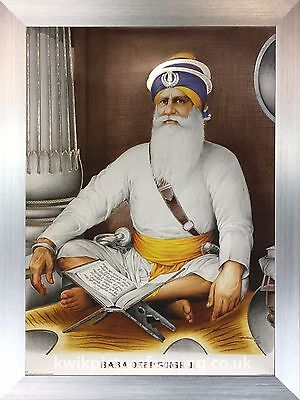 "Baba Deep Singh Ji  Photo Picture Framed - 16"" X 12"" Inches 