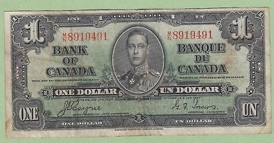 1937 Bank of Canada 1 Dollar Note - Coyne/Towers - M/N8919491 - VG