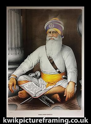 "Large Baba Deep Singh Ji Picture Frame In Size - 40"" X 28"" Inches 