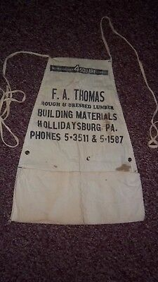 Vtg 1950'S F A Thomas Lumber-Building Materials Hollidaysburg Pa Vendor Apron