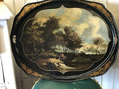 Fantastic Large Victorian Painted Toleware Tray English Landscape Water People