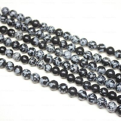 """Natural Snowflake Obsidian Smooth Round Ball Loose Gemstone Beads Strand 15"""" 8mm"""