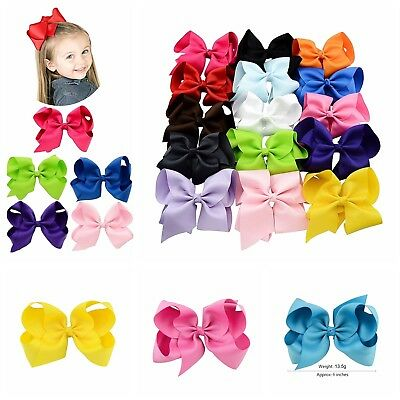 15 Pcs Hair Bows Girls Ribbon Lot 6 Inch X Large Alligator Clips Mix Colors Set