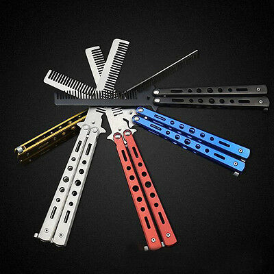 Training Sport Stainless Steel Colorful Butterfly  Comb Tool Folding Comb KnifeP