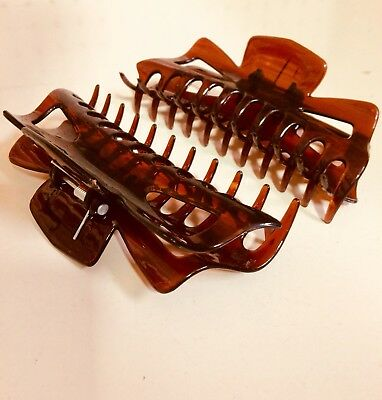 CLEAR BROWN Extra Large Hair Jaw Clip Claw Clamp 5 1/2 inches 2 Pack.