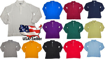 French Toast School Uniform Unisex Long Sleeve Pique Polo Shirt (Sizes 4-20)
