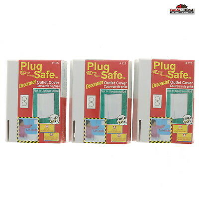 Plug Safe Outlet Covers Child Safety Outlet covers ~ Lot of 3 ~ NEW