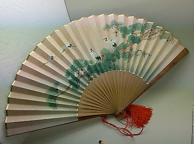Fächer China Lack Papier Seide Signiert Eventail Fan Ventaglio Abanico C. 1930